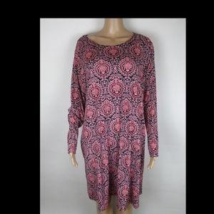 Foreve 21 pink black  longsleeve dress size xl
